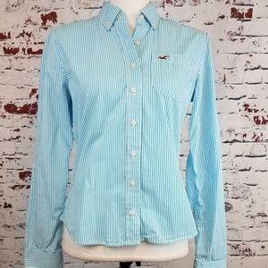 HOLLISTER Striped Button Down Shirt - Women's M